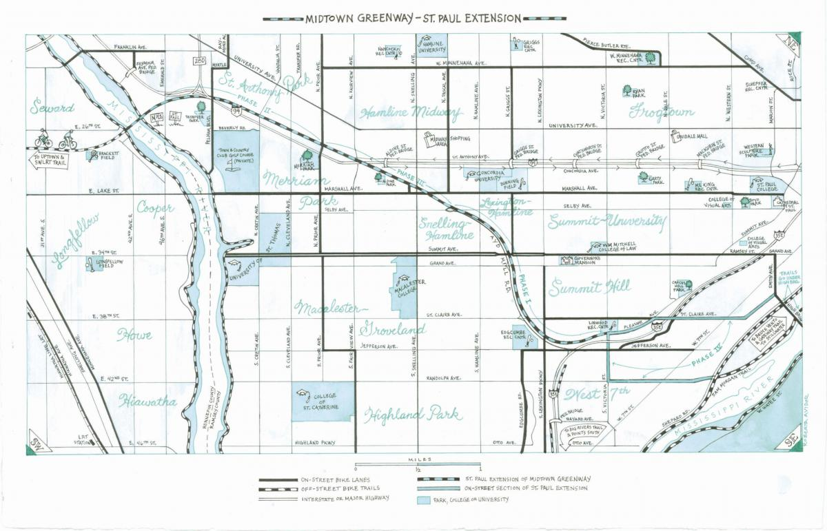 Map of St. Paul Greenway