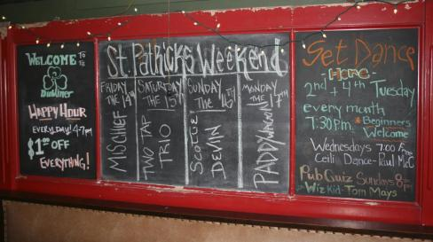 Dubliner events board