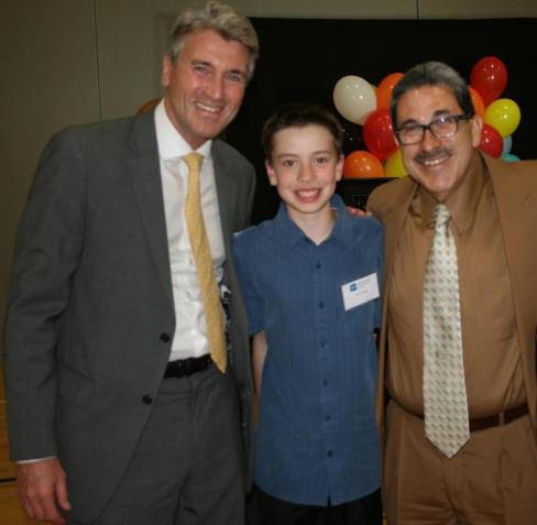 Mayor Rybak with Mike Temail's son and Manny Gonzalez